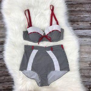 Unique Vintage Retro Gingham High Waist Bikini